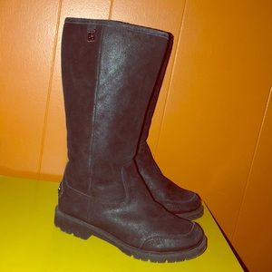 BearPaw Metallic Black Suede Sheepskin Boots